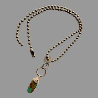 Retro Style Artisan Made Brass Chain Necklace with Natural Turquoise Pendant