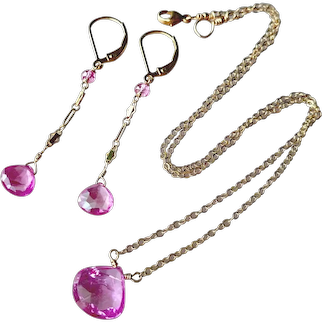 Set of Hot Pink Sapphire Gemstone Necklace and Earrings with Gold Fill