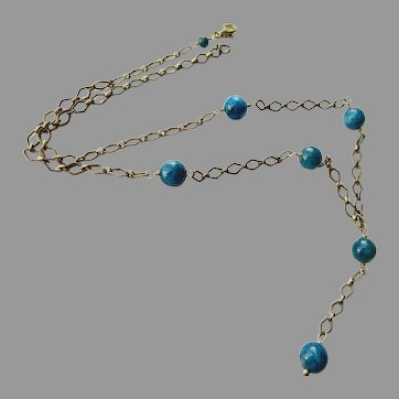 Opaque Teal Apatite Gemstones on Oxidized Sterling Silver Chain Y Necklace