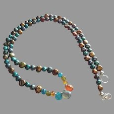 Cultured Pearl Necklace with Apatite, Labradorite and Garnet Gemstones