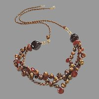 Three-strand Cultured Pearl and Garnet Gemstone Necklace with Extender Included