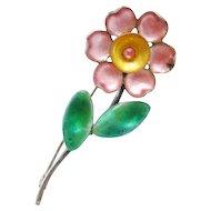 Vintage Sterling Enamel Flower Brooch Bernard Instone England