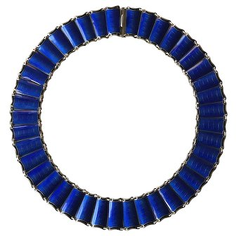 Vintage Sterling Enamel Norway Einar Modahl Necklace Cobalt Blue
