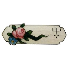 Vintage Art Deco Sterling Enamel F.A. Hermann Lapel Pin with Rose, Forget-Me-Not