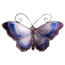 Vintage Sterling Enamel Norway Butterfly Brooch in Shades of Purple by David Andersen, Large, Book Piece