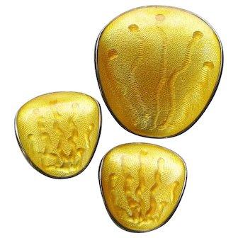 Vintage Sterling Enamel Einar Modahl Mid-Century Modernist Brooch Earrings Demi-Parure Set Yellow