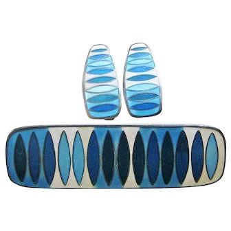 Vintage David-Andersen Sterling Matte Enamel MCM Mid-Century Modernist Brooch Earrings Set Blue