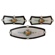 Antique Edwardian F.A. Hermann Sterling Enamel Collar Brooch and Lingerie Pin Set of 3