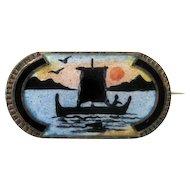 Vintage Sterling Enamel Norway Aksel Holmsen Scenic Brooch Pin Norne Art Deco