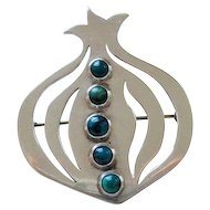 Vintage Modernist Sterling Turquoise Denmark Brooch by Jane Wiberg