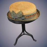 1890's Straw Hat for Girl or Boy Doll