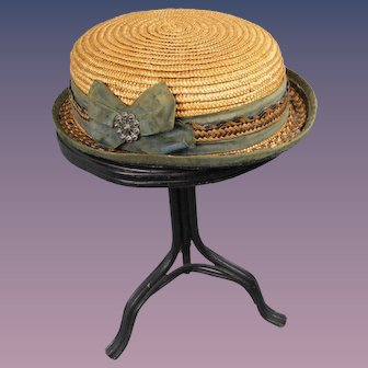 Antique Straw Hat for Girl or Boy Doll