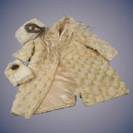 Old Mohair Coat, Hat, and Muff for French or Chunky German Bisque Doll