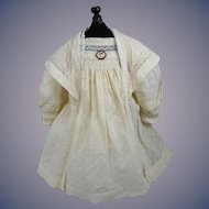 Vintage Dress and Pin for Antique Bisque Doll Ivory Dotted Swiss