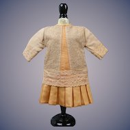 """Apricot Silk Dress 10"""" long for 16""""-18"""" Bisque Doll"""