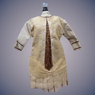 """Silk Dress 14"""" long for Chunky French or German Bisque Doll  aprox. 22""""-24"""""""