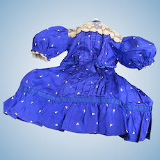 "13"" Long Cobalt Blue Silk Dress for French or German Bisque Doll"