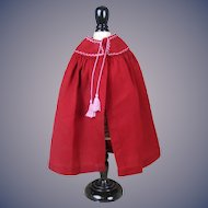 """Cranberry Wool Cape 10"""" long French Fashion or other Bisque Doll"""