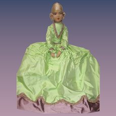 Authentic Vintage Boudoir Bed Doll French Egghead Rare Face Cloth Silk hair Daela - kk
