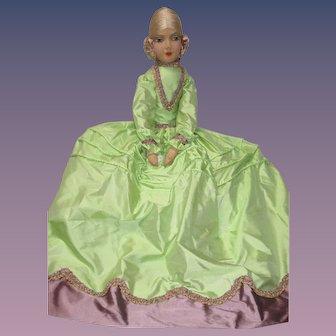 Authentic Vintage Boudoir Bed Doll French Egghead Rare Face Cloth Silk hair Daela - kk