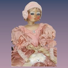 Authentic Vintage Boudoir Bed Doll French Blossom Rare Cloth Face RaeLynne - kk
