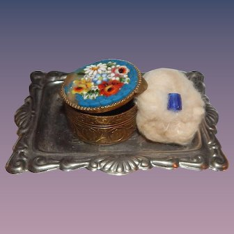 Antique French Fashion Doll Millefiori Italian Powder Container Puff and Tray
