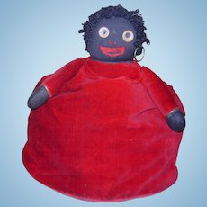 Rare Antique Vintage Googly Eye or Golli Golliwog type Tea Cozy Cosy Black Cloth Doll African American Primitive