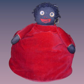 Rare Antique Vintage Googly Eye or Golli Golliwog type Tea Cozy Cosy Black Cloth Doll African American Primitive