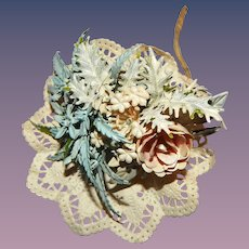 Vintage Bridal Bouquet Pink Blue Tussie-Mussie for Antique Bisque Fashion Doll