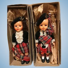 Vintage MIB Scottish Great Britain Celluloid Dolls