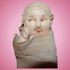 Adorable Cloth Baby Boudoir Doll 1920's Christening Newborn
