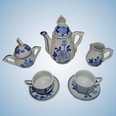 Lovely Blue and White Doll Miniature Teaset
