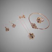4 Pc Set - Sterling Silver Vermeil Multi Gemstone Bracelet Necklace Earrings Ring