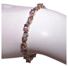 Vintage Sterling Silver Vermeil Amethyst Diamond Tennis Bracelet