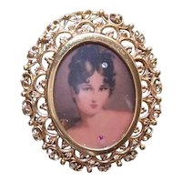 Italian 14K Gold Portrait Miniature Pin/Pendant - Lovely Lady with Diamond in Hair & Ruby at Throat