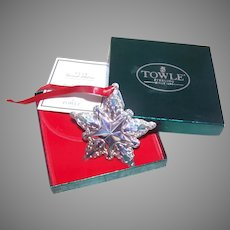 1998 Towle Sterling Silver Christmas Ornament Star Snowflake - Box, Papers, Pouch