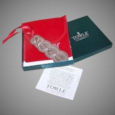 Year 2000 Towle Sterling Silver Christmas Ornament - Box, Papers, Pouch
