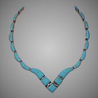 Mexican 950 Silver Turquoise Stone Inlay Flex Link Necklace
