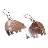 Native American Sterling Silver Bear Earrings - Designer Signed Marco