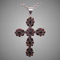 Vintage Sterling Silver Garnet Cross Pendant on Belcher Chain