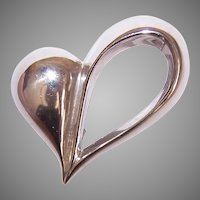 Vintage Beau Sterling Silver Pin Retro Modern Open Heart