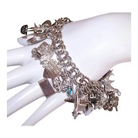 Retro Double Link Sterling Silver Charm Bracelet with 29 Shiny Charms