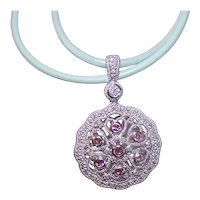Vintage Sterling Silver Diamond Amethyst Pendant