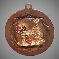 Vintage 14K Gold Charm - Christmas Tree by the Chimney