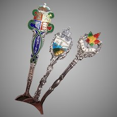 3 Sterling Silver Enamel Demitasse Souvenir Spoons from Canada