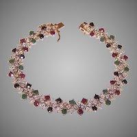 Vintage Sterling Silver Vermeil 4.85CT TW Emerald Ruby Sapphire Link Bracelet