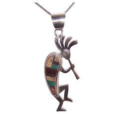 Vintage Sterling Silver Multi Stone Inlay Native American Kokopelli Pendant