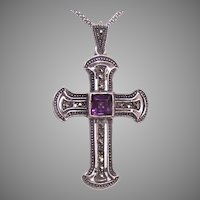 Vintage Sterling Silver Marcasite Amethyst Glass Cross Pendant