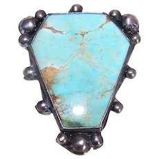 Native American Sterling Silver Turquoise Pin Old Pawn