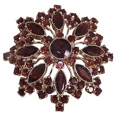 Victorian Revival  14K Gold Rhodolite Garnet Starburst Pin/Pendant